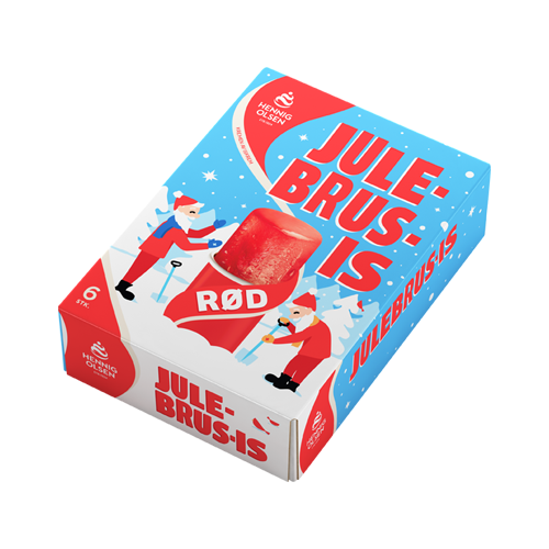 Rød julebrus-is fra Hennig-Olsen Is